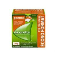 Nicorette 2 mg Gomme à mâcher médicamenteuse sans sucre fruits Plq/210 à NAVENNE